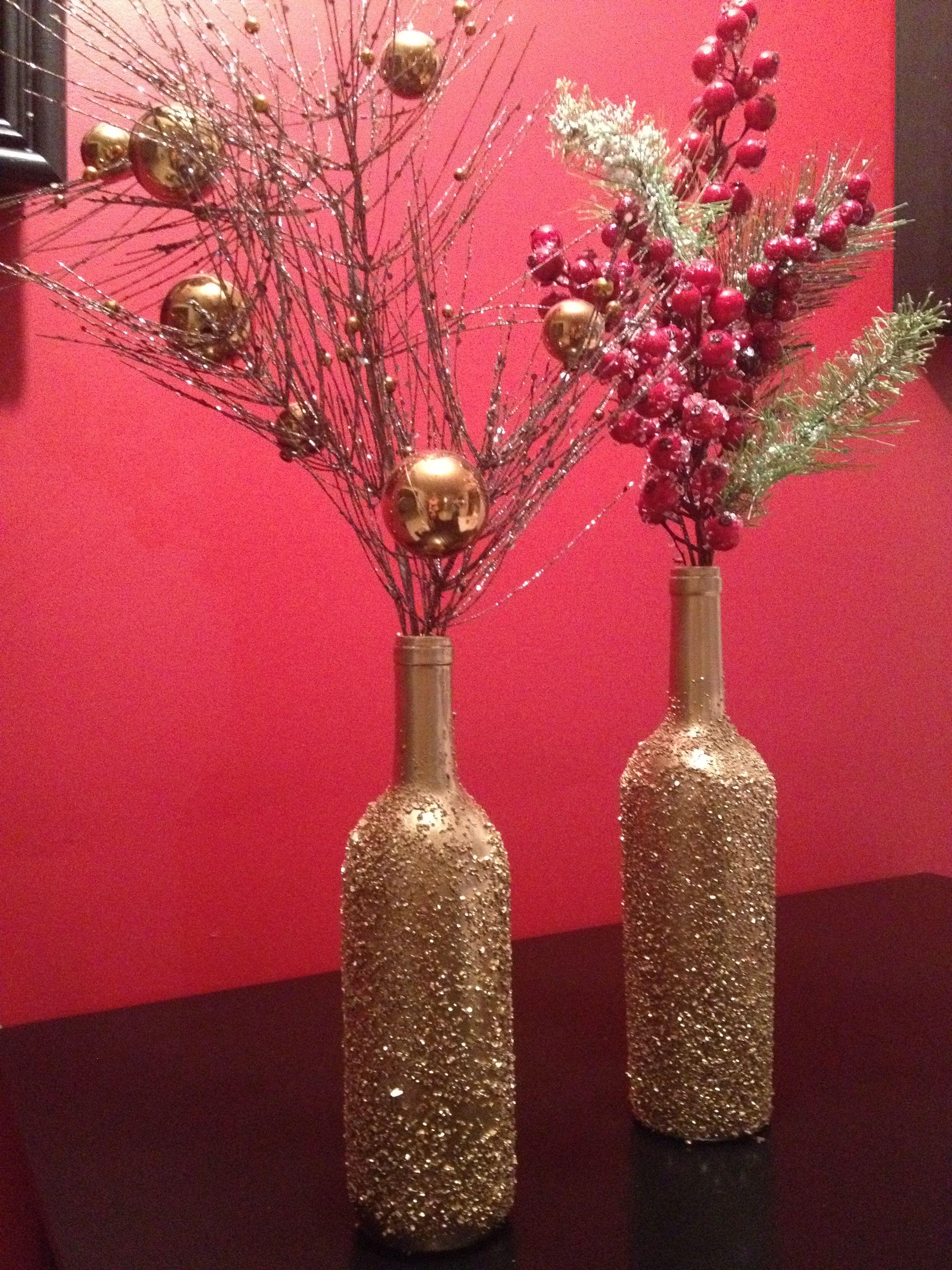 Epsom Salt Gold Spray Paint Diy Christmas Wine Bottle Craft Christmas Decor Diy Christmas Wine Diy Holiday