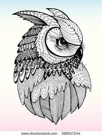 Portrait Of An Owl Owls Head Abstract Bird Print Profile Decorative Stylized Line Art Drawing By Ha Owl Tattoo Drawings Owls Drawing Owl Coloring Pages