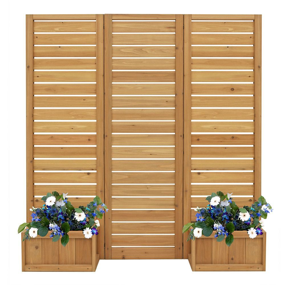 5 ft x 5 ft outdoor wood privacy screen with planters