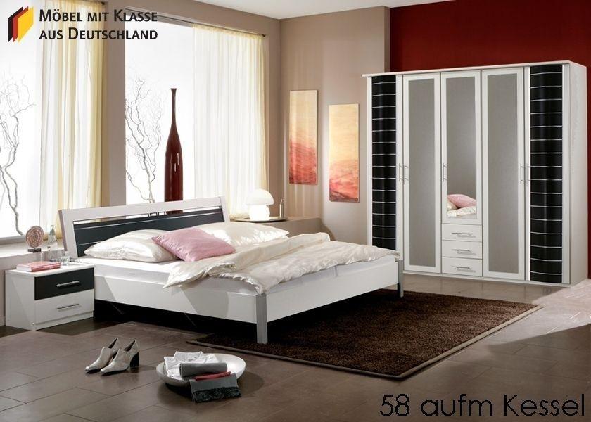 Schlafzimmer komplett Yvonne Schlafzimmermöbel Weiß Schwarz 3636 - schlafzimmer komplett