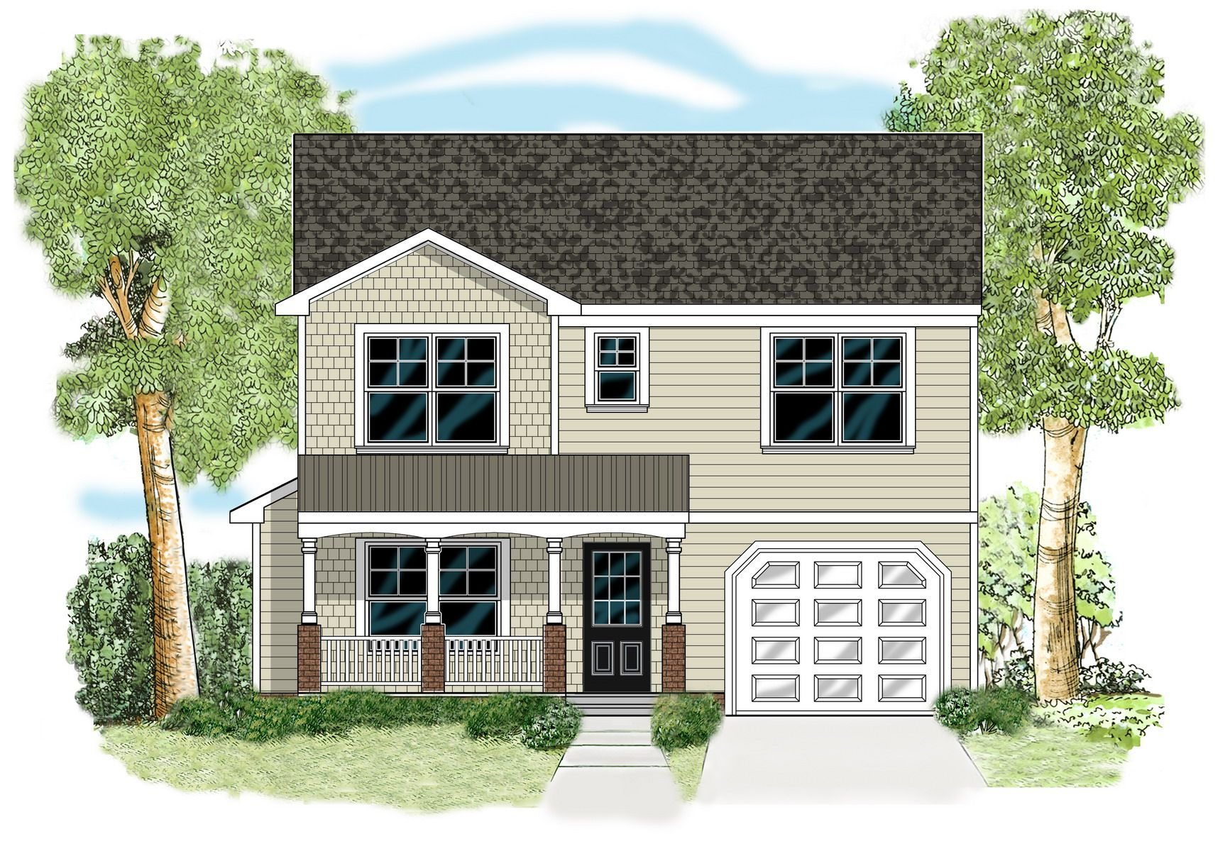 This Two Story Cottage Plan With Country Front Porch Features An