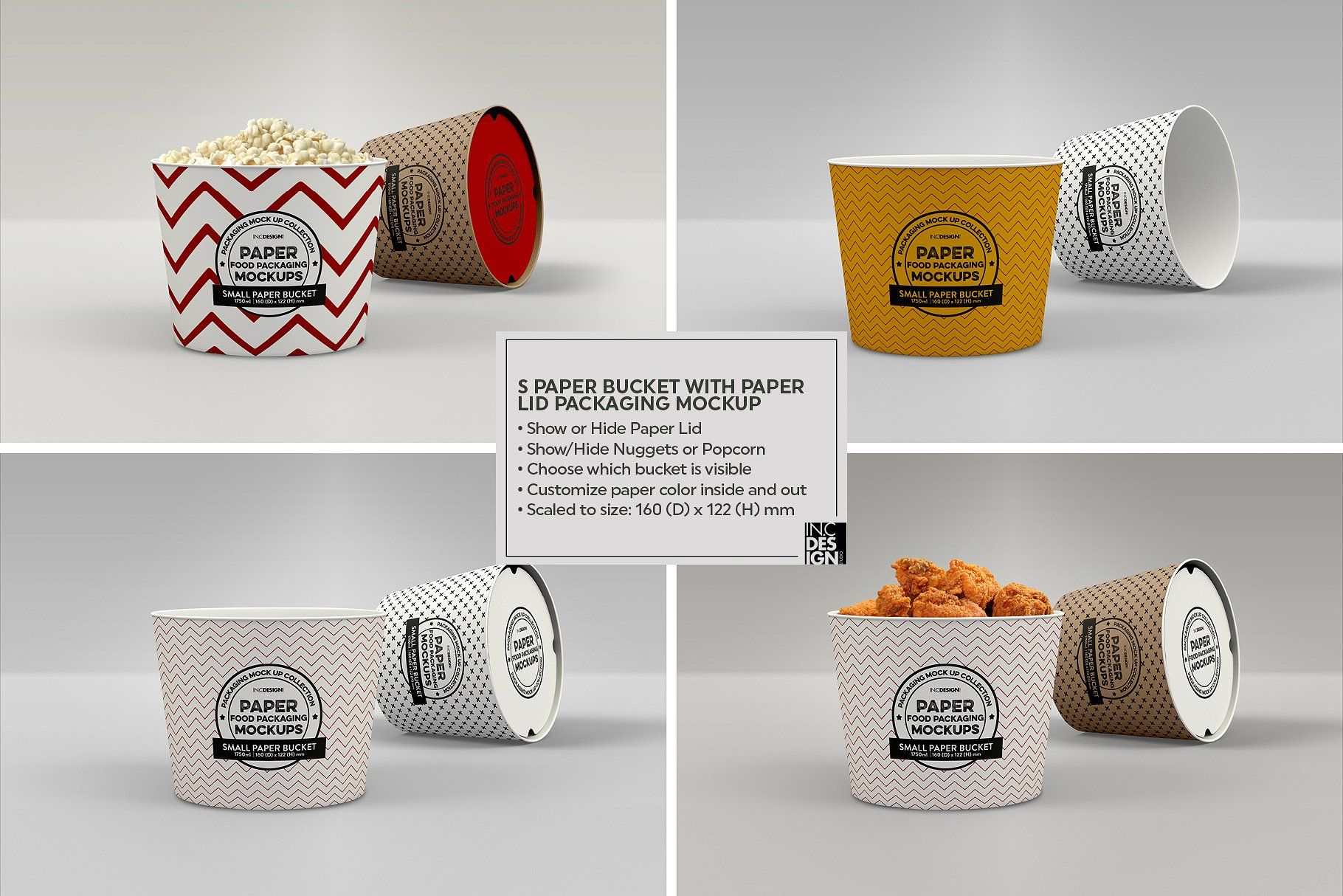 Small Paper Bucket Paper Lid Mockup (With images