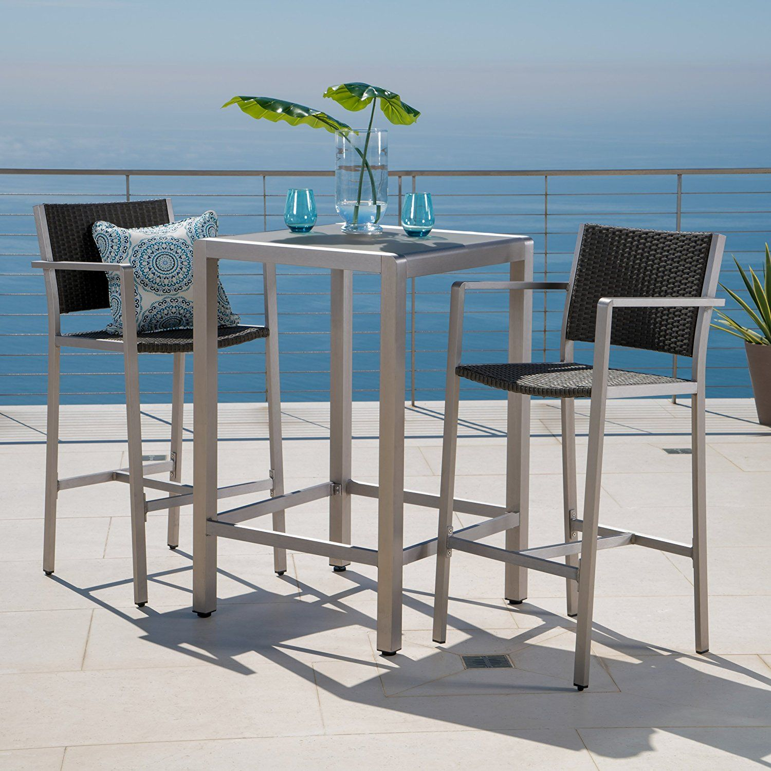 Amazon Crested Bay Patio Furniture 3 Piece Grey Outdoor