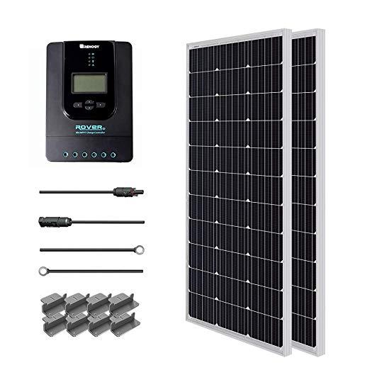 Renogy 200 Watt 12 Volt 24 Volt Monocrystalline Solar Starter Kit With 40a Rover Mppt Charge Controller Off Grid Solar Solar Power Panels Solar Energy Panels