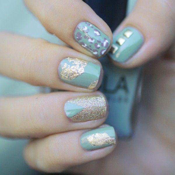 Gold And Light Blue Nail Unhas Unha Nails Unhasdecoradas Nailart Classy Nail Designs Classy Nails Nails