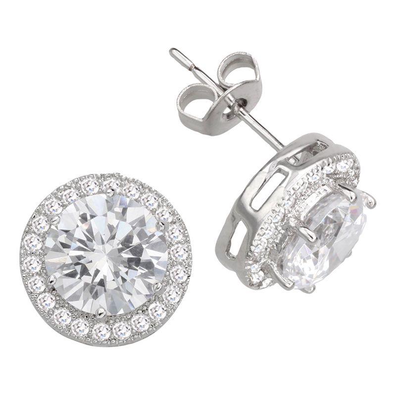 18K White Gold Plated Lovely Round Cut Pink CZ Cubic Zircon Pierced Stud Earrings for Women Girls Jewelry