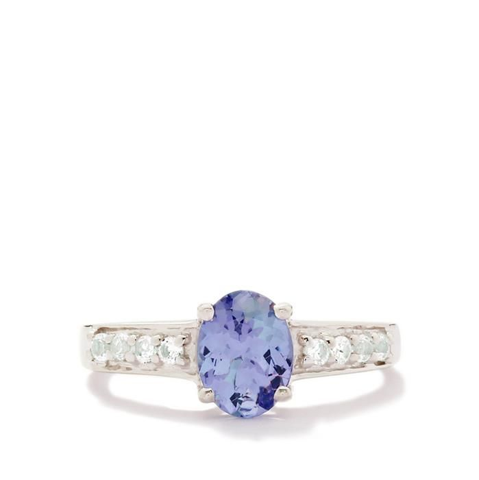 Very unusual and collectible, this gem stone is running out: Bi-Colour Tanzanite & White Topaz Sterling Silver Ring 1.36cts