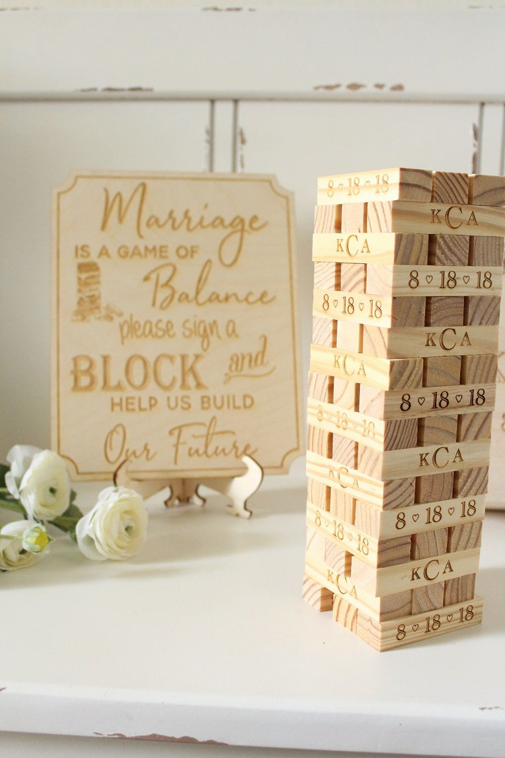 We Love Jenga Wedding Guest Books Game Wedding Guest Book Building Blocks Guest Book Unique Jenga Wedding Wedding Games Signs Bridal Shower Guest Book