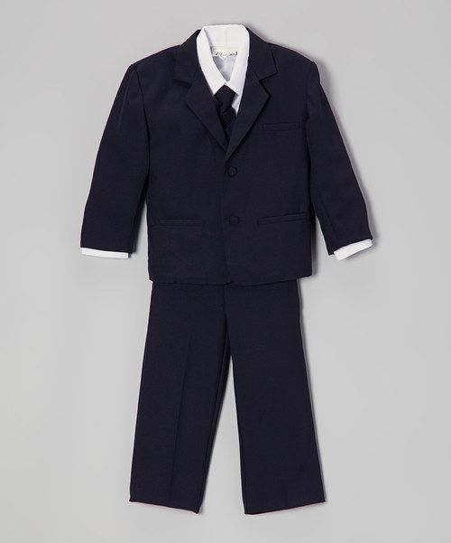 Look at this Navy Blue & White Five-Piece Suit - Infant, Toddler & Boys on #zulily today!