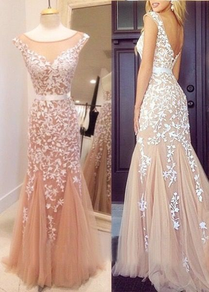 2016 Champagne Prom Dresses Tulle Appliques Sheer Neck Sash Mermaid ...