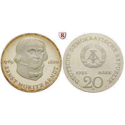 DDR, 20 Mark 1985, Arndt, PP, J. 1605 20 Mark 1985. Arndt