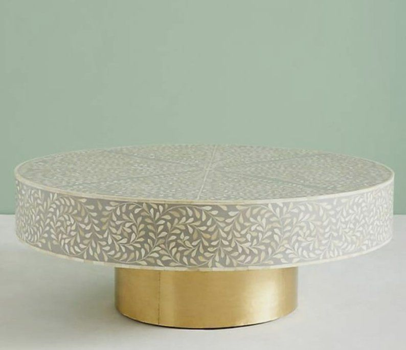 Grey Foliage Bone Inlay Coffee Table Sideboard Dresser