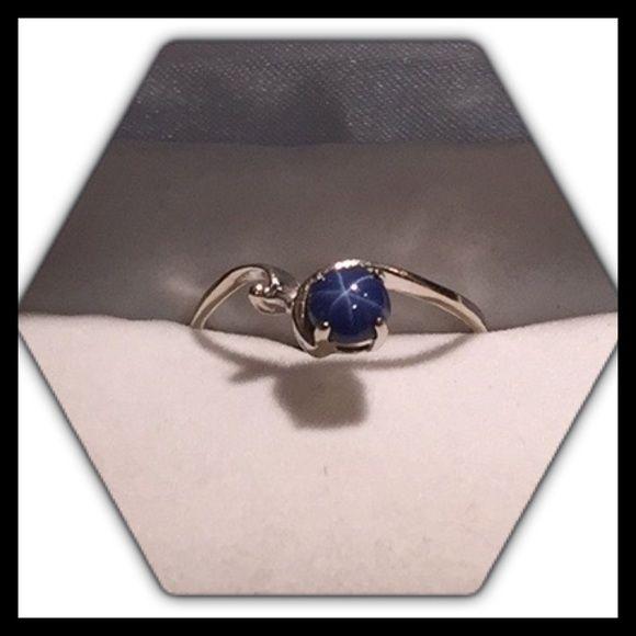 White Gold Star Sapphire Ring Star Sapphire Ring Sapphire Ring Blue Sapphire Rings
