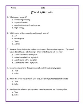 Sound assessment - 4th Science | 4th grade science, 4th ...