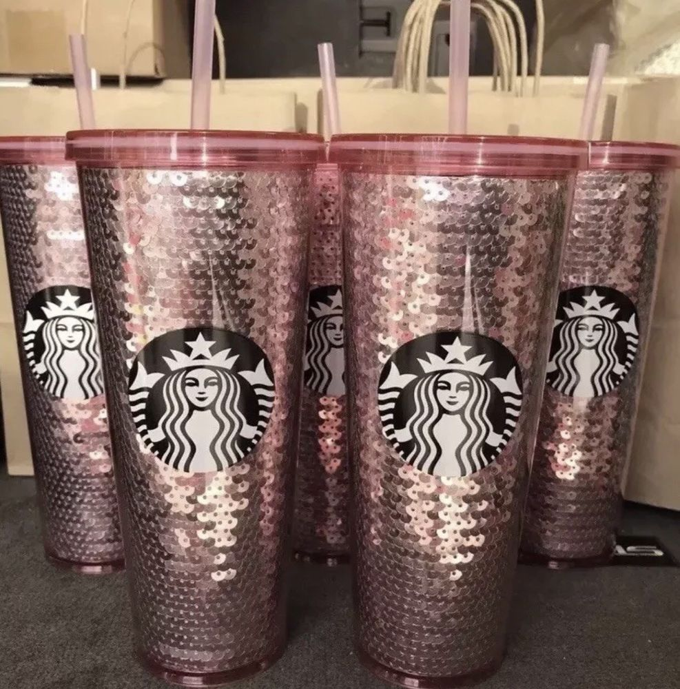 b206552e440 STARBUCKS ROSE GOLD Pink SEQUIN TUMBLER 24 OZ. COLD CUP 2017 NEW CHRISTMAS  | eBay