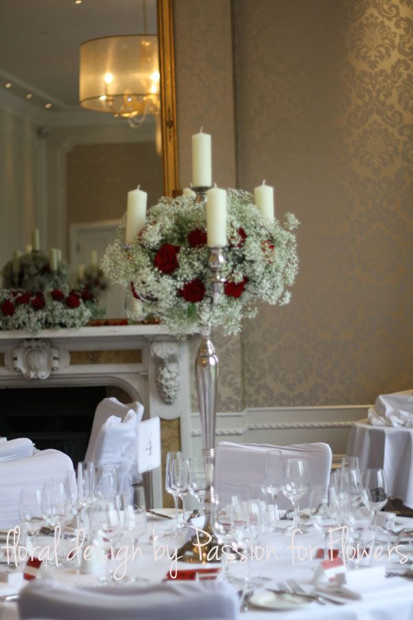 Red And White Wedding Flowers Candelabra Centrepiece