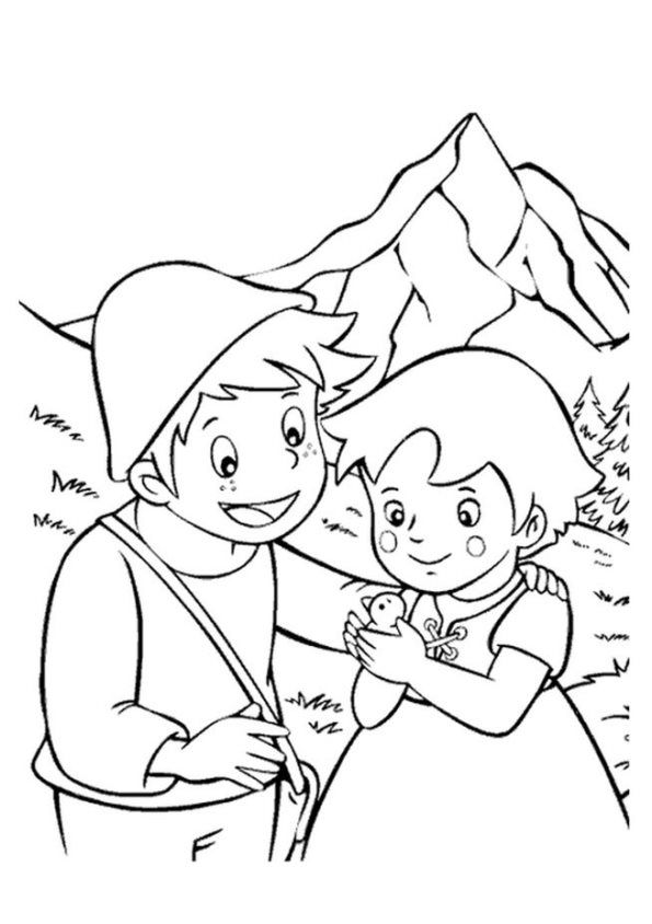 kidsnfun  coloring page heidi girl of the alps