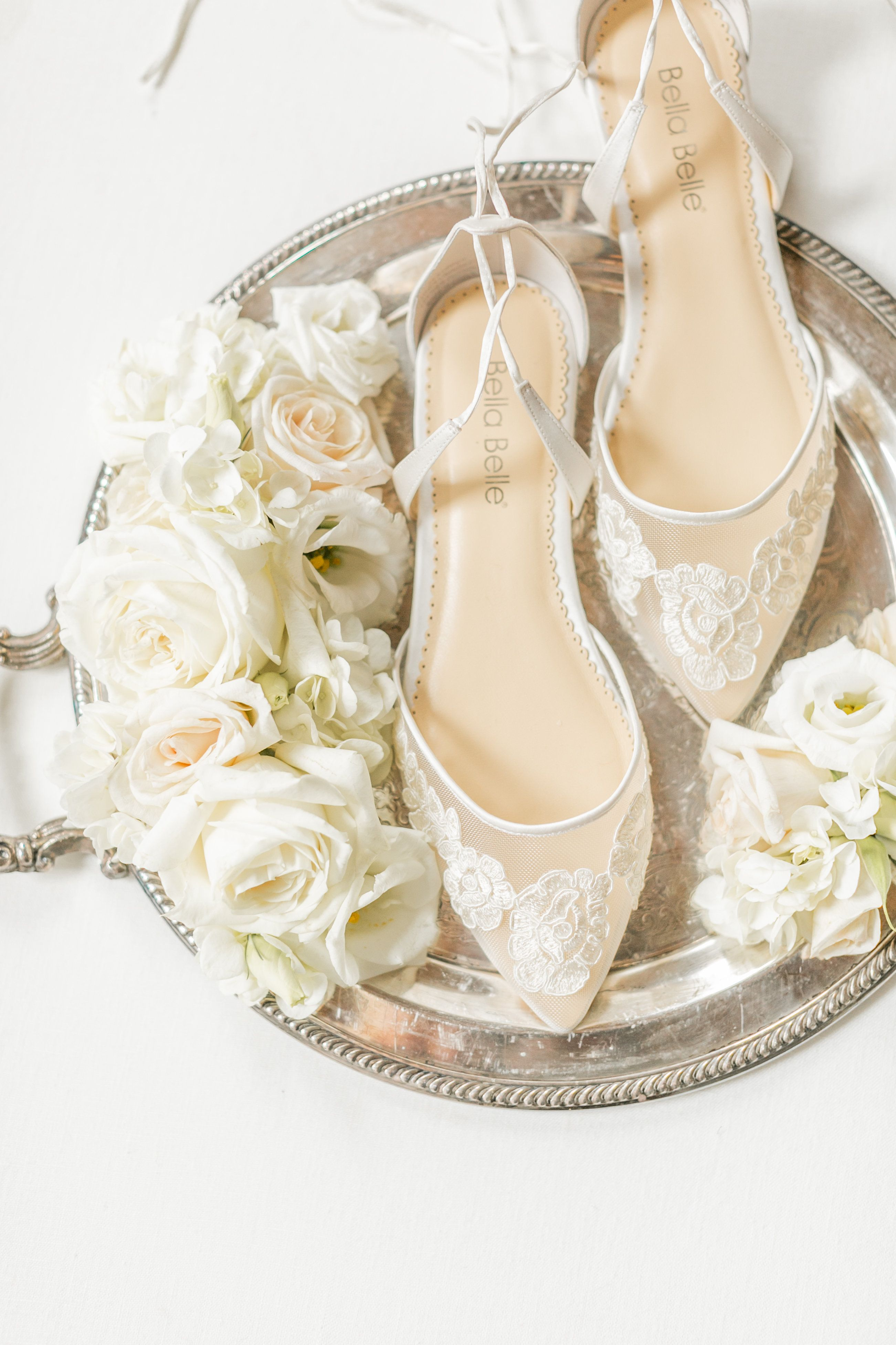 0aafe2c6040aa9 Bella Belle Shoes Stunning Simple Lace and Comfortable Wedding Flats for  Bride  Alicia ivory floral