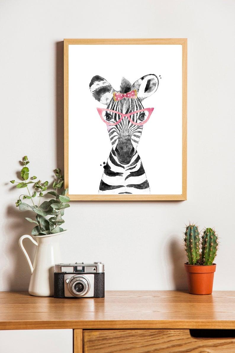 Zebra Wall Art Digital Download Printable Wall Art Girl Etsy Zebra Wall Art Safari Wall Art Printable Wall Art