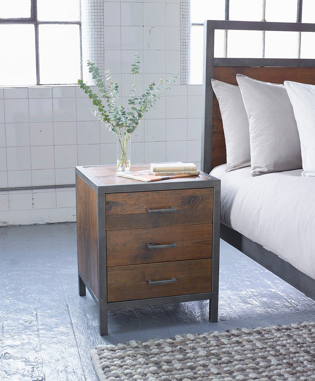 Our Versatile Baxter Bedside Table Made From Reclaimed Pine And Antiqued Metal Combines An