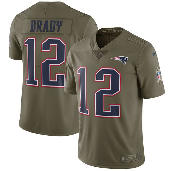 reputable site 516ef 13bde Youth New England Patriots 12 Brady Nike Olive Salute To ...
