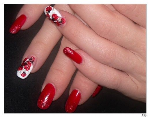Lovely Red 3d Nails Art 520406 Nails Red Pinterest