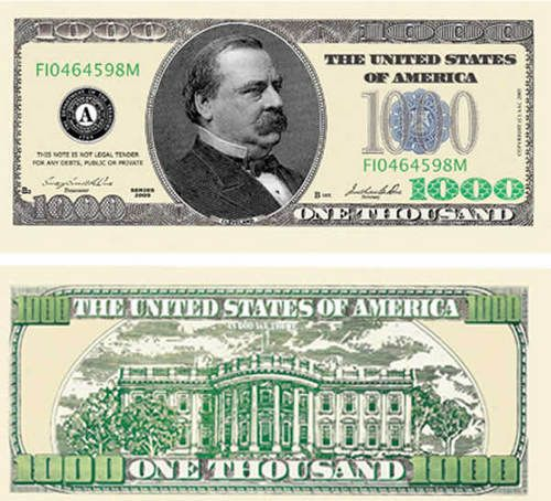 image about Fake 1000 Dollar Bill Printable named $1000 greenback invoice cash Thousand greenback invoice, 1000