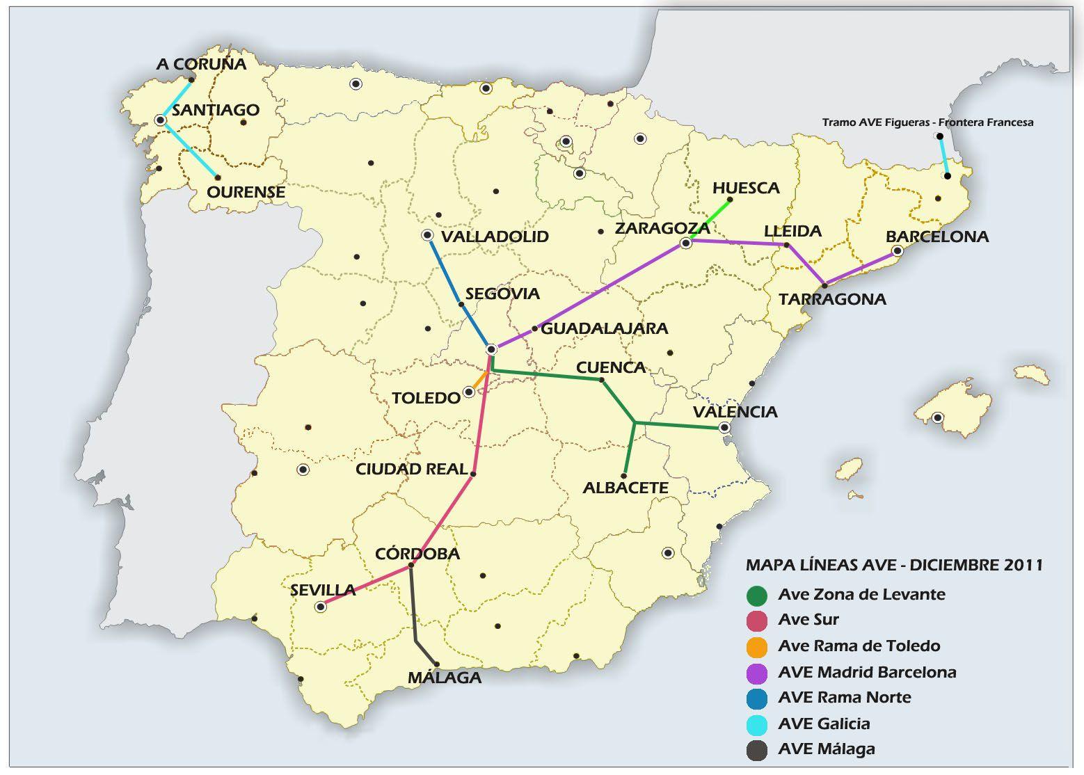 Mapa De Trenes España.Mapa Alta Velocidad Espana Viajes En Ave