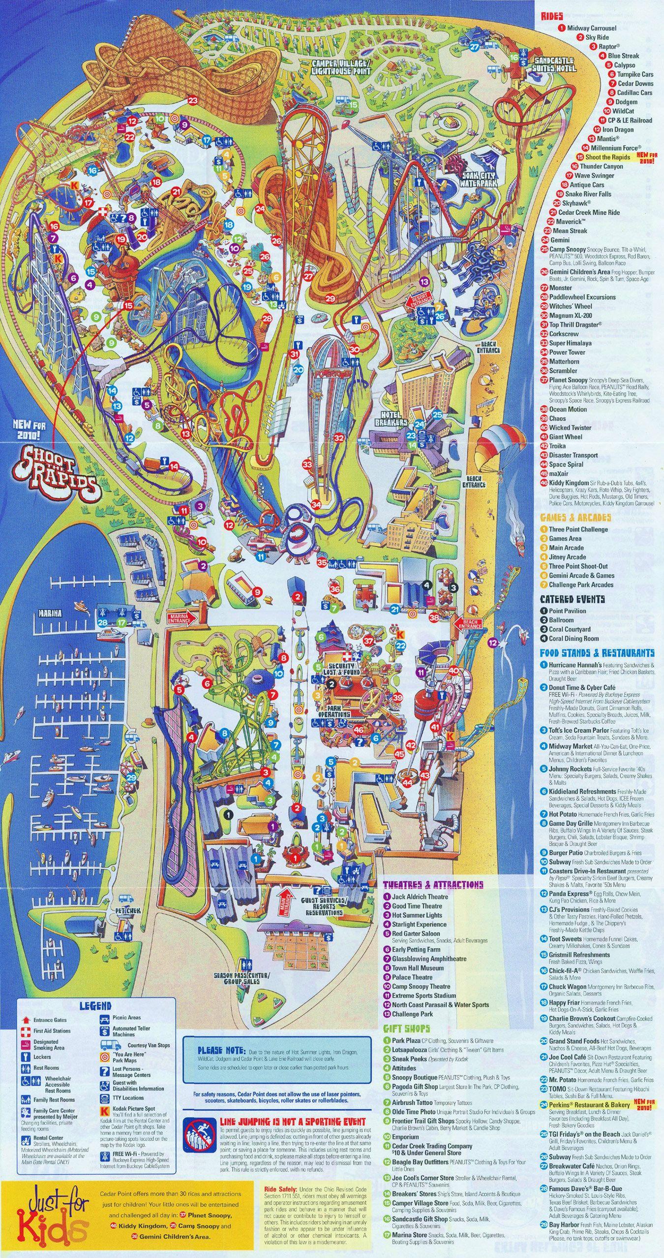 Cedar Point Park Map Cedar Point   2010 Map | MAPS   Local | Cedar point, Theme park
