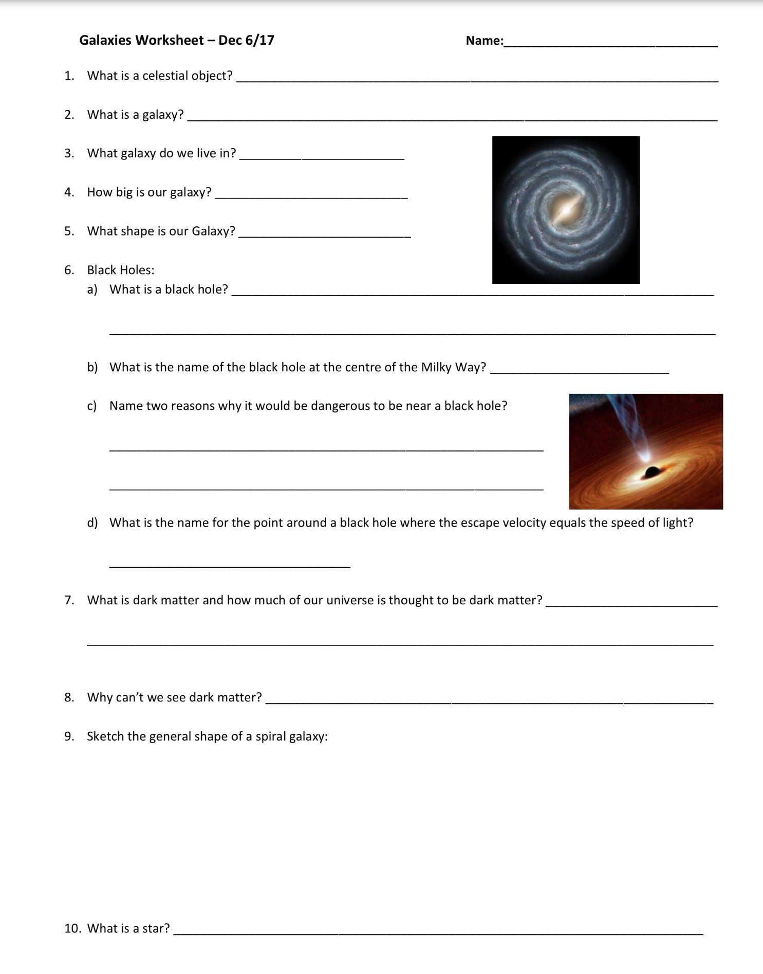 Galaxies Worksheet