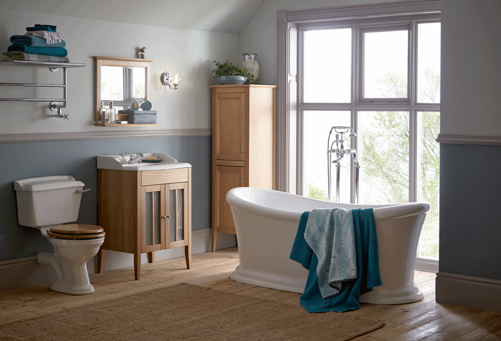 Heritage Bathroom Furniture Dorchester Vanity Tall Boy And Toilet Seat Cover In Oak From Tubs Tiles