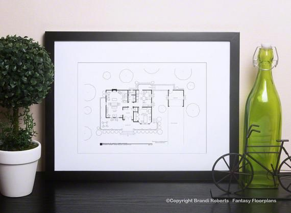 Gilmore Girls Floor Plan for Home of Lorelai and Rory Gilmore - 1st Floor - Wall Decor - Hand-drawn Art - Blackline Poster - Unique gift #bradybunchhouse
