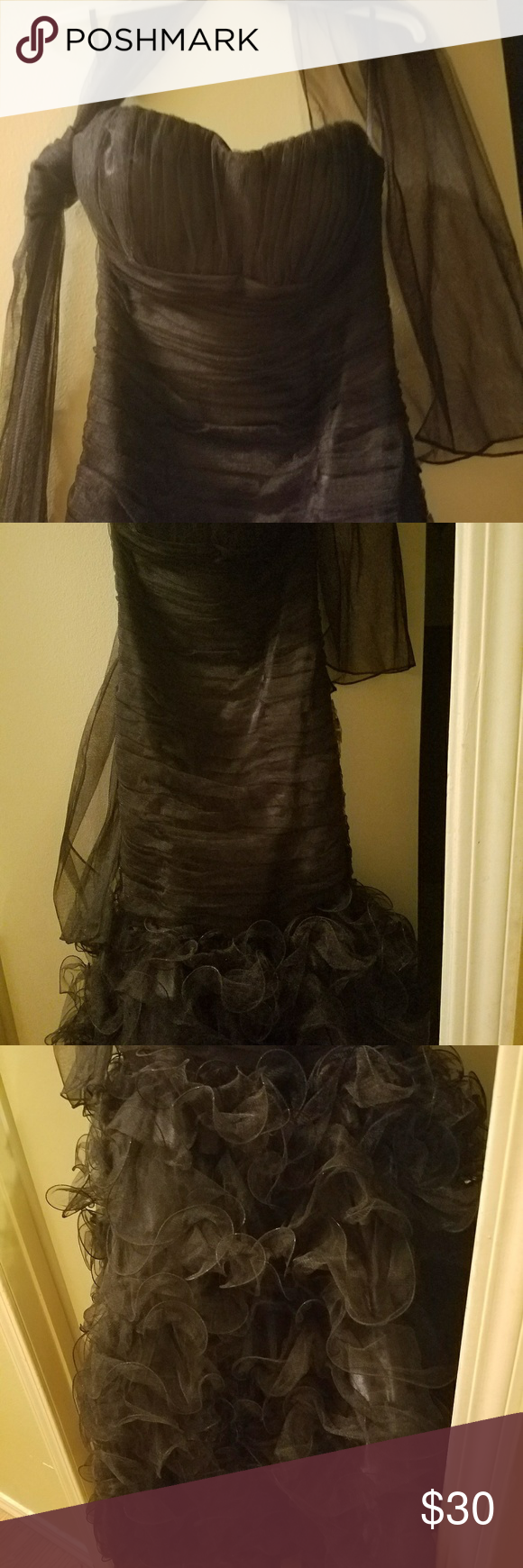 Prom dress black satin and tulle formfitting news with shawl and
