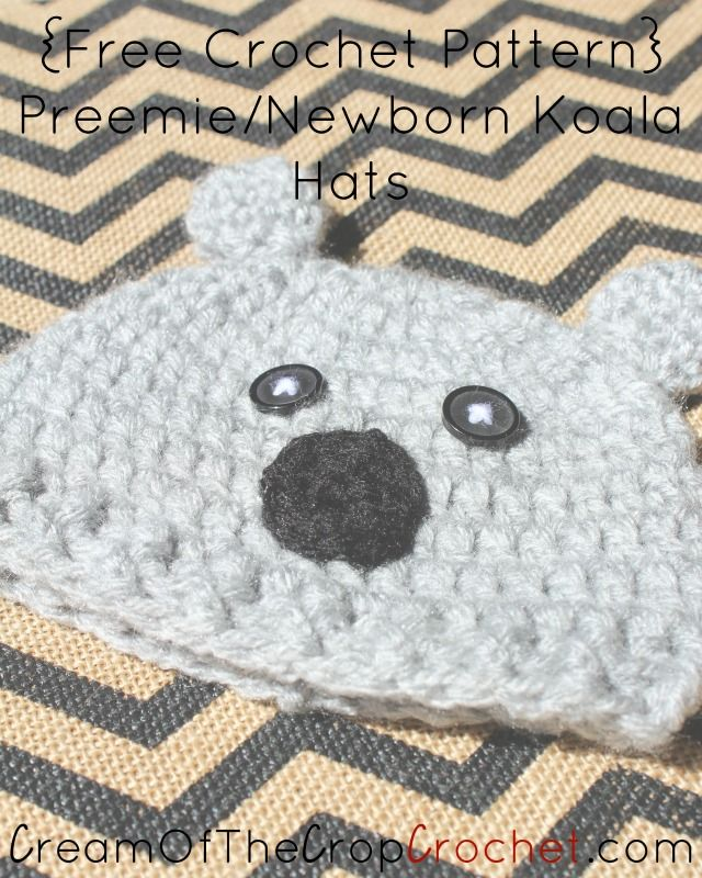 Cream Of The Crop Crochet ~ Preemie/Newborn Koala Hats {Free Crochet ...
