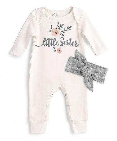 b728d4d596d5 Love this Ivory  Little Sister  Playsuit   Gray Headband - Infant on   zulily!  zulilyfinds