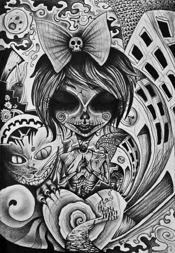 Alice In Wonderland Alice In Wonderland Tattoo Sleeve Dark