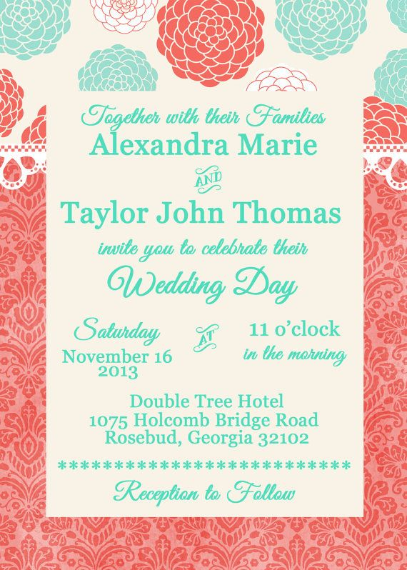 Coral and Malibu Blue Wedding or Bridal Shower Invitation with