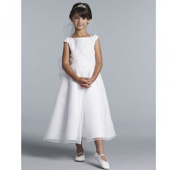 Us Angels Girls White Lace Organza First Communion Dress 4-14