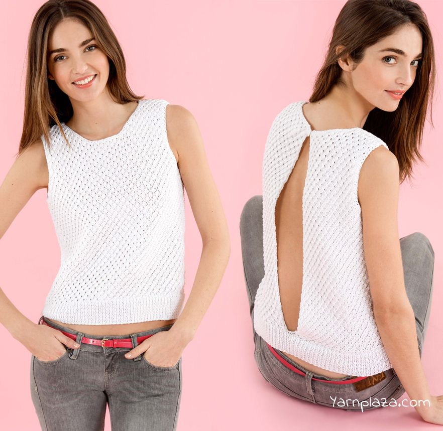 Knitting Tops Patterns : Knit a trendy summer top with phil coton in daisy stitch