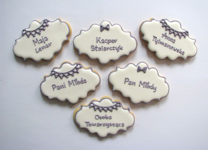 Wedding place name card cookies wedding anniversary cookies
