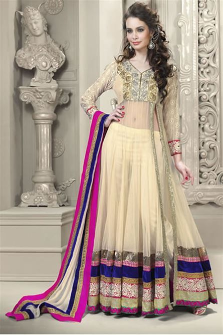 Readymade #Pink And #Cream #Net #Anarkali #Suit #nikvik #usa ...