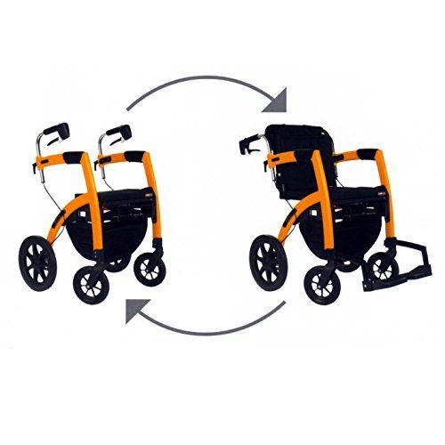 walker transport chair in one hugo navigator bed stool amazon rollator rollz motion 2n1 orange click the visit rh pinterest com