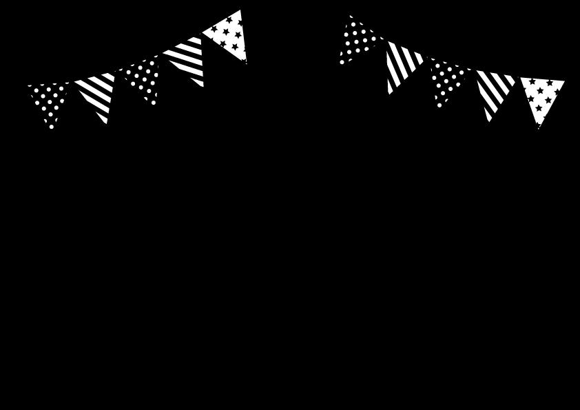 ガーランドと星 音符のフレーム モノクロ 幼稚園 イラスト 誕生日の壁紙 風船 イラスト