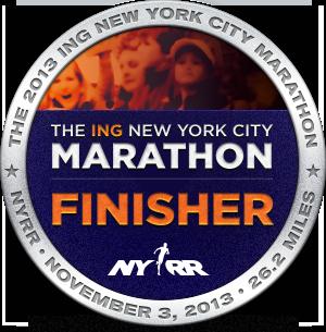New York City Marathon Finisher 2013