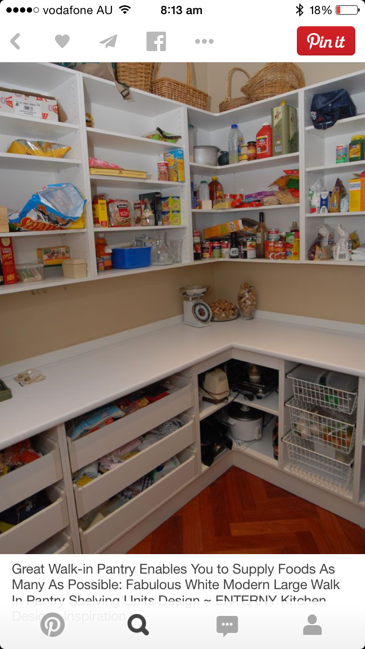 pantry shelves creative ideas for more inspiring pantry storage. Great Walk-in Pantry Enables You To Supply Foods As Many Possible: Fabulous White Modern Large Walk In Shelving Units Design ~ ENTERNY Kitchen Shelves Creative Ideas For More Inspiring Storage