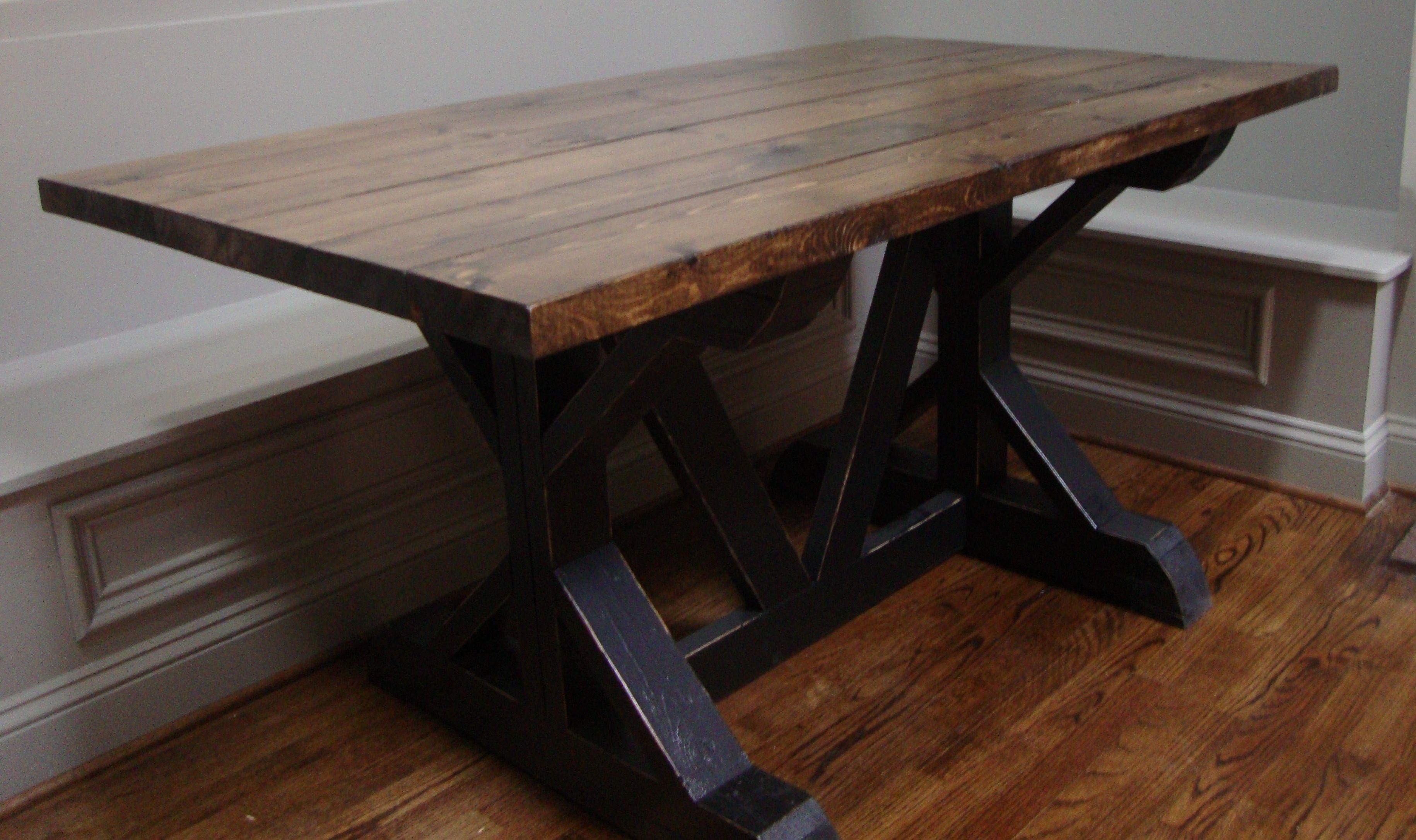 Black Walnut Kitchen Table Tall Cabinet 5 Ft Custom Farm With Dark Top And