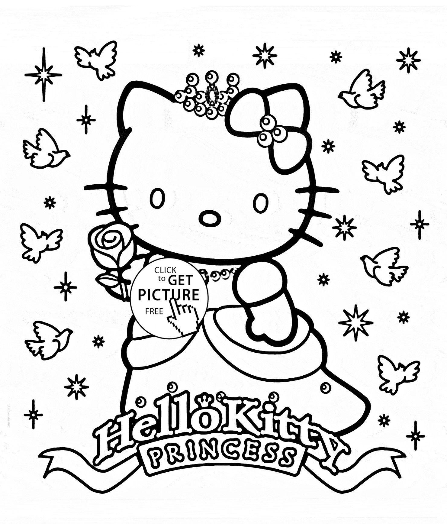 Hello Kitty Princess Coloring Pages Bunga