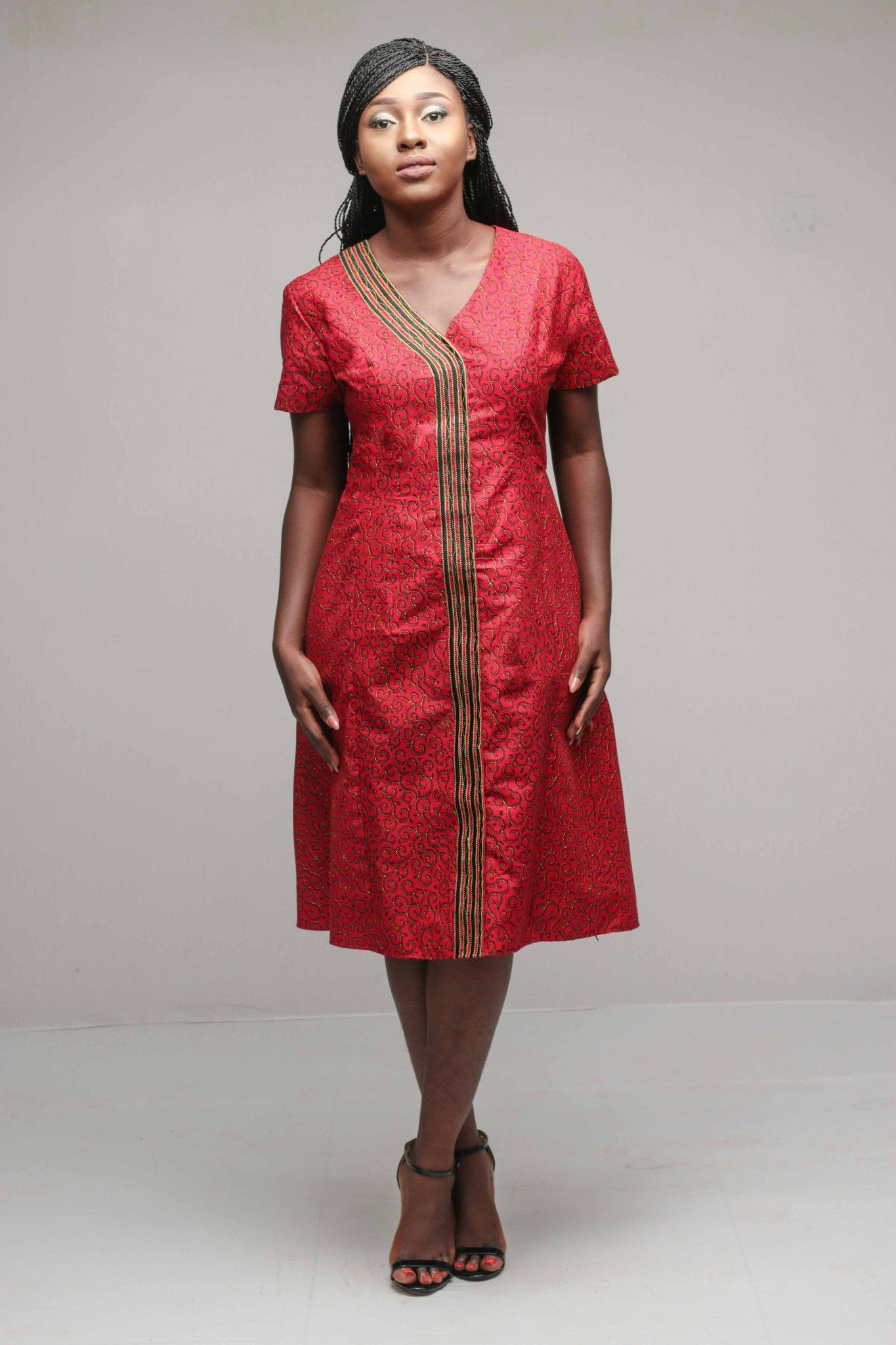 935756b93b4 Burgundy African Print A-line Dress for Women | afro cloth | Dresses ...