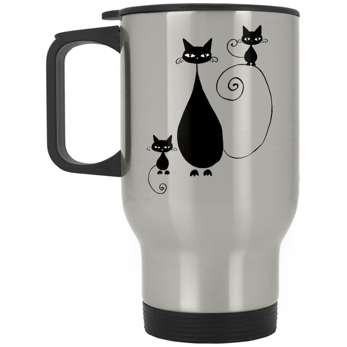 Cute Begging Cat Mother's day gifts Silver Stainless Travel Mug