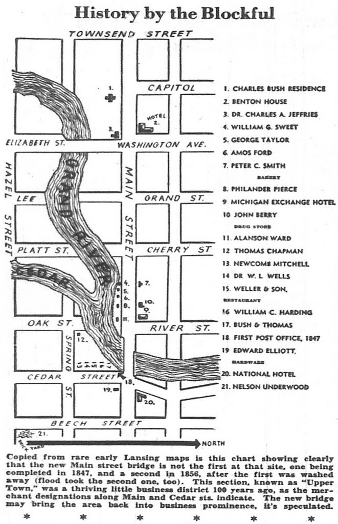 site of new bridge was once thriving business district main and cedar streets map 1949 05 22 lansing mi lansing street map cedar street pinterest